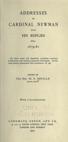 Download Addresses to Cardinal Newman with his replies, etc., 1879-81.