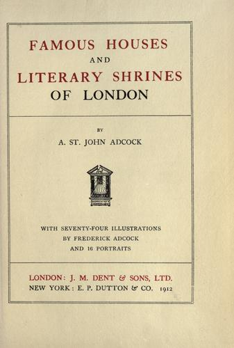 Download Famous houses and literary shrines of London.