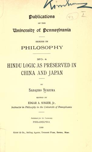 Hindu logic as preserved in China and Japan.