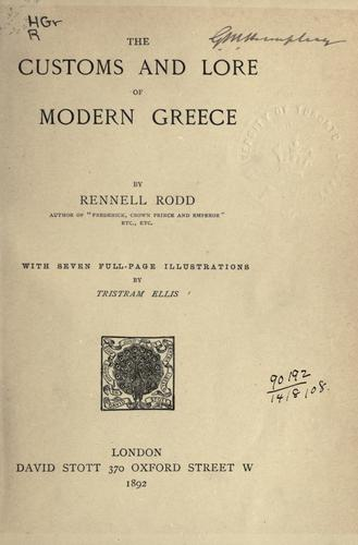 Download The customs and lore of modern Greece …
