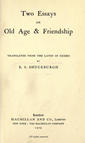 Download Two essays on old age & friendship