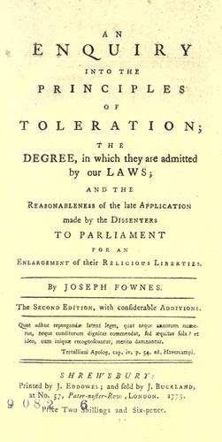An enquiry into the principles of toleration