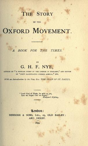 The story of the Oxford movement