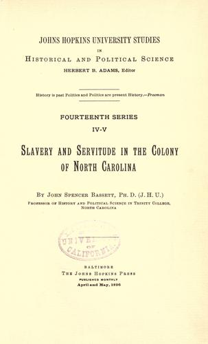 Download Slavery and servitude in the Colony of North Carolina