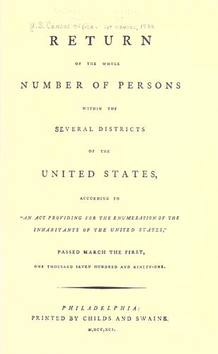Download Return of the whole number of persons within the several districts of the United States