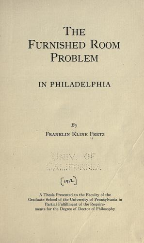 Download The furnished room problem in Philadelphia