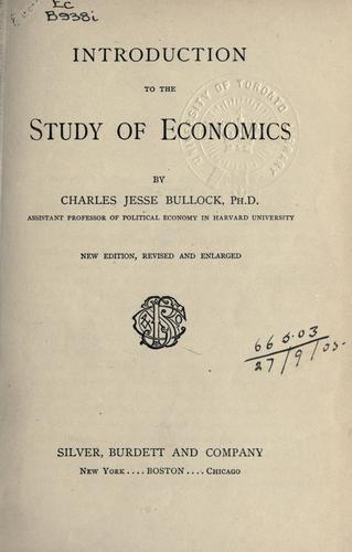 Download Introduction to the study of economics.