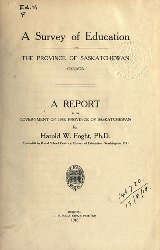 A survey of education in the province of Saskatchewan, Canada