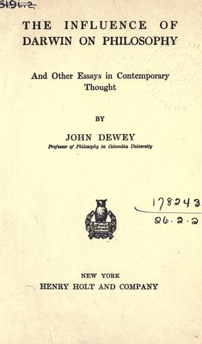 Download The influence of Darwin on philosophy, and other essays in contemporary thought.