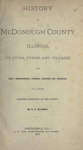 Download History of McDonough County, Illinois