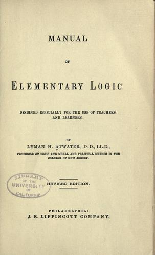 Manual of elementary logic …
