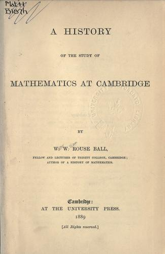 A history of the study of mathematics at Cambridge.