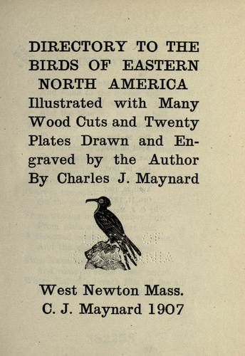 Directory to the birds of eastern North America