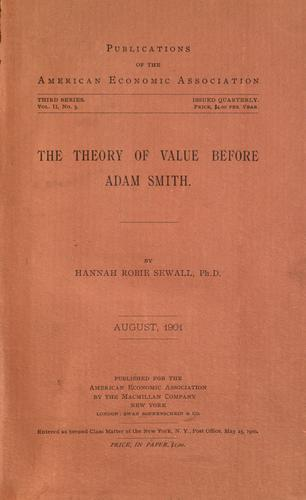 The theory of value before Adam Smith