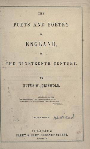Download The poets and poetry of England, in the nineteenth century.