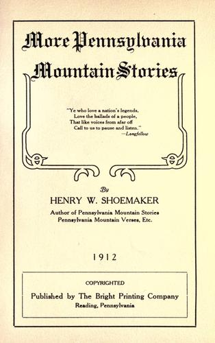 More Pennsylvania mountain stories