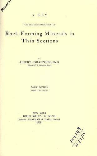 A key for the determination of rock-forming minerals in thin sections.