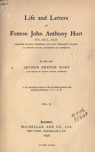 Download Life and letters of Fenton John Anthony Hort