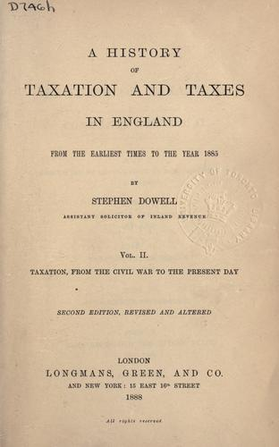 Download History of taxation and taxes in England