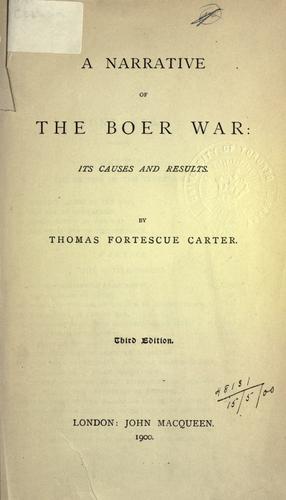 A narrative of the Boer War