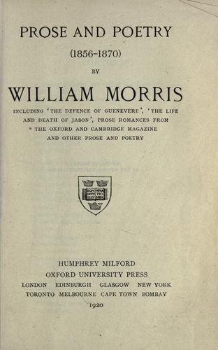 Prose and poetry (1856-1870).