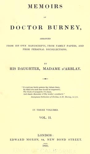 Memoirs of Doctor Burney by Fanny Burney