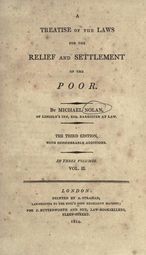 Download A treatise of the laws for the relief and settlement of the poor.