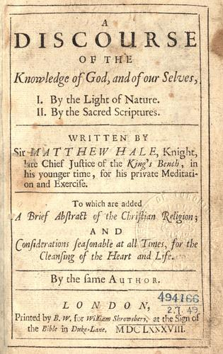 A discourse of the knowledge of God, and of our selves