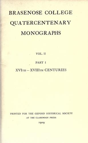 Brasenose college quatercentenary monographs …