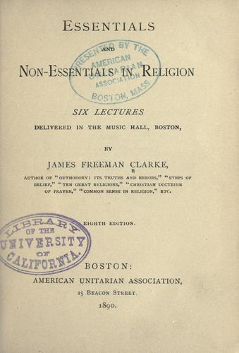 Download Essentials and non-essentials in religion