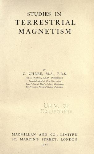 Download Studies in terrestrial magnetism.