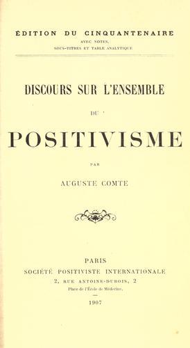 Discours sur l'ensemble du positivisme.