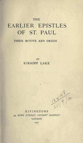 Download The earlier Epistles of St. Paul