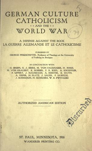 Download German culture catholicism and the world war
