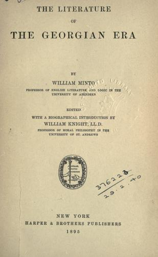 Download The literature of the Georgian era.