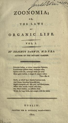 Download Zoonomia; or, The laws of organic life.