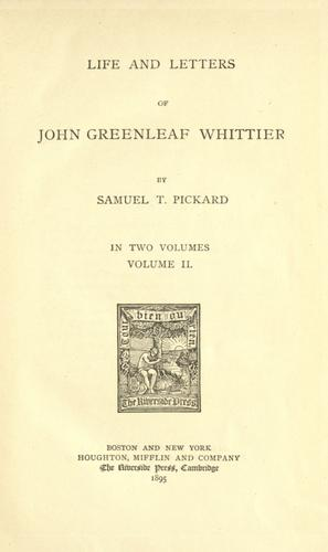 Download Life and letters of John Greenleaf Whittier