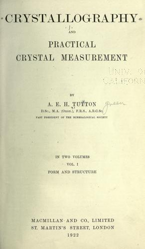 Download Crystallography and practical crystal measurement
