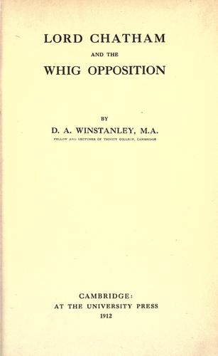 Download Lord Chatham and the Whig opposition.