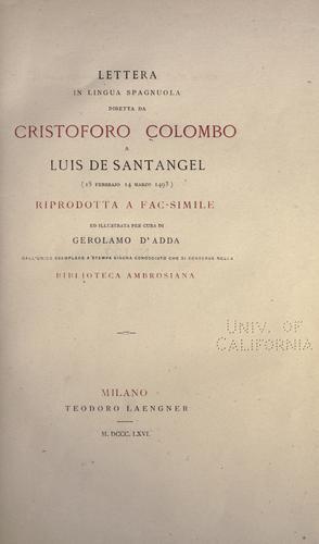 Lettera in lingua spagnuola diretta da Cristoforo Colombo a Luis de Santangel (15 febbrajo 14 marzo 1493)