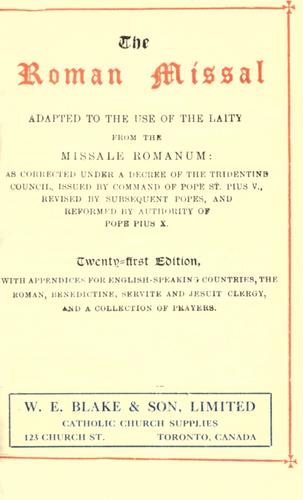 The Roman Missal adapted to the use of the laity from the Missale Romanum