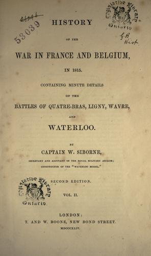 Download History of the war in France and Belgium, in 1815