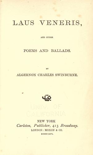 Laus veneris by Swinburne, Algernon Charles