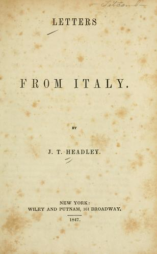 Letters from Italy.