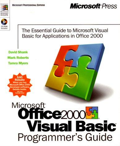 Microsoft Office 2000/Visual Basic programmer's guide by David Shank