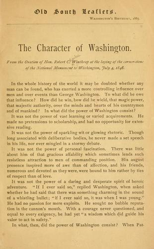 The character of Washington by Robert Charles Winthrop