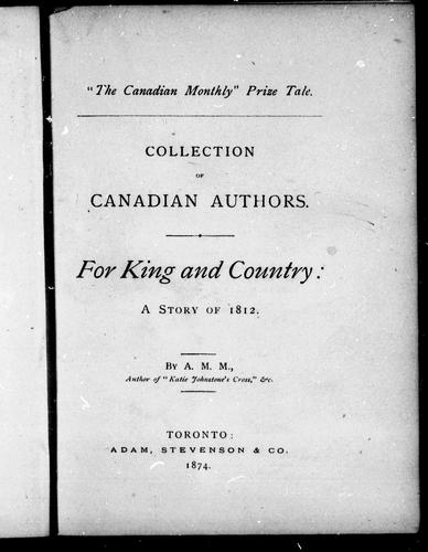 For king and country by Agnes Maule Machar