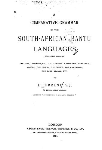 A comparative grammar of the South African Bantu languages by J Torrend