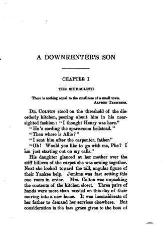 A downrenter's son by Ruth Hall