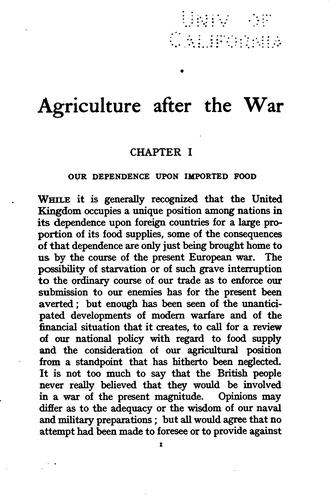 Agriculture after the war by Hall, Daniel Sir